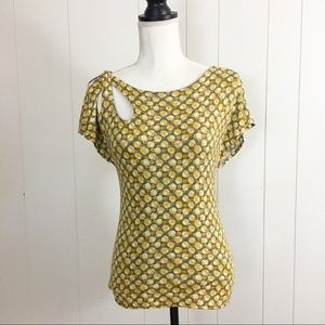 Meadow Rue yellow and gray Geo Print Top
